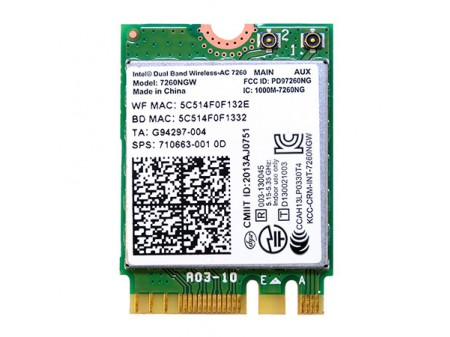 DELL WIFI BT INTEL 7260NGW AC M.2 802.11a/ac/b/g/n BT 4.0