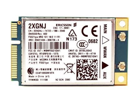 DELL 5550 WWAN ERICSSON F5521gw 2XGNJ miniPCI-E 3G/HSPA GPS